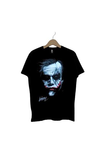 HemenALbence Unisex Siyah Oversize Joker Imza Baskılı Tişört
