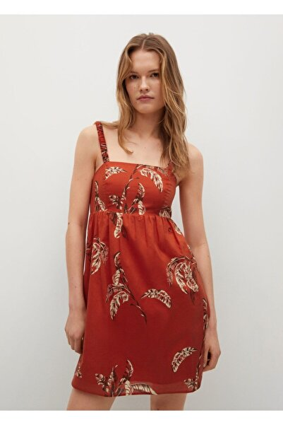 MANGO Woman Kadın Desenli Koton Elbise
