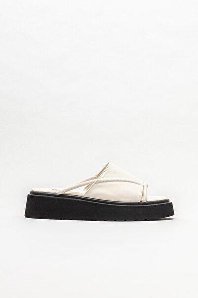 Elle Shoes Ekru Kadın Dolgu Topuklu Terlik