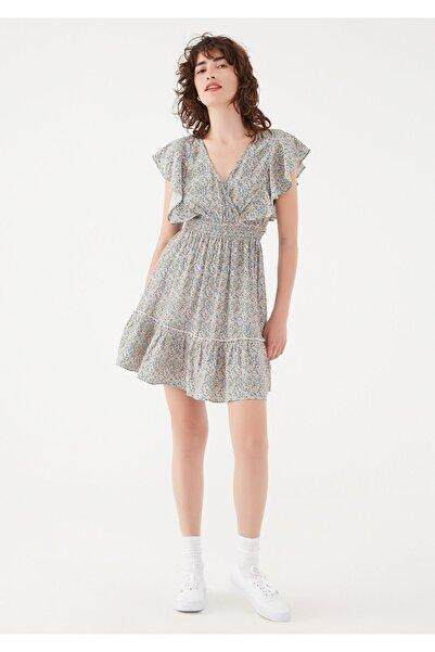 Mavi Kadın Çiçek Baskılı Fırfırlı Elbise 131137-35343