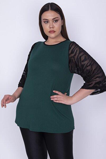 Şans Kadın Yeşil Kolları Flok Tül Detaylı Viskon Bluz 65N25580
