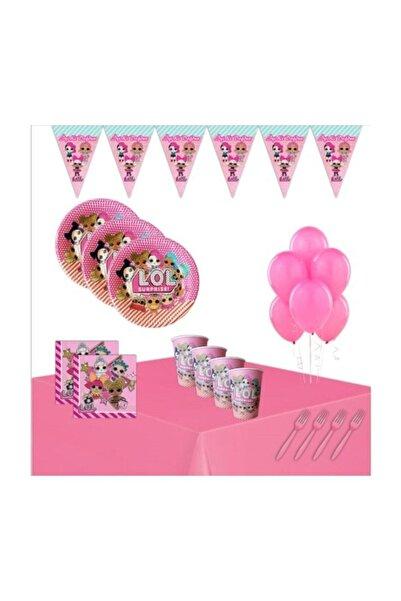 LOL Kız Çocuk Pembe Bebek 8 Kişilik Doğum Günü Seti