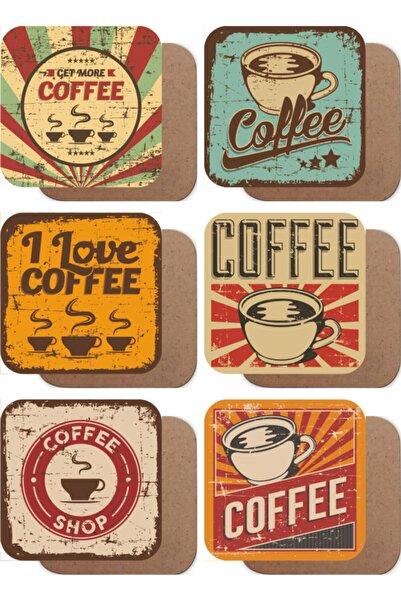 Hayat Poster Retro Kahve Vintage 6lı Ahşap Bardak Altlığı Seti