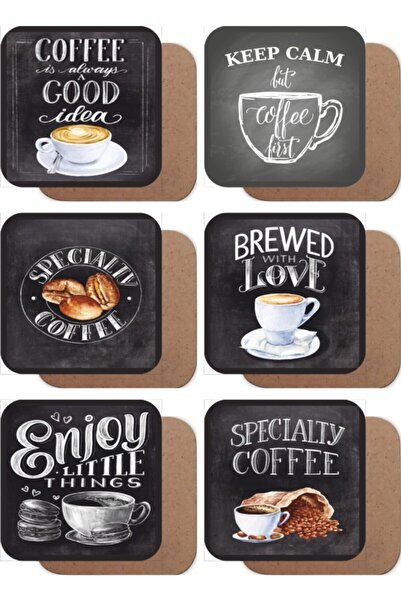 Hayat Poster Vintage Kahve Çekirdeği 6lı Ahşap Bardak Altlığı Seti