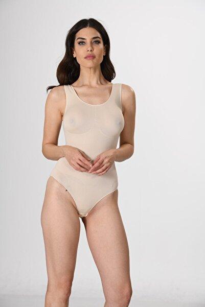 Miss Fit Kadın Ten Dikişsiz Kalın Askılı Korsajlı Çıtçıtlı Body Fitilli Örme Seamless
