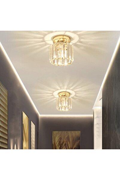 İstanbul Avize Plafonyer Tavan Gold 1 Adet Tekli Kristal Avize
