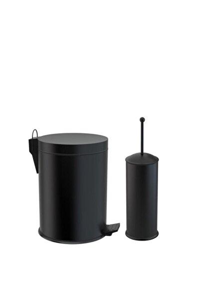 Bando Siyah Çöp Kovası Ve Klozet Fırçası