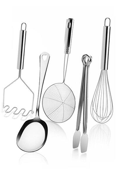 Kazanabil 5 Parça Çelik Metal Mutfak Servis Seti Takımı (kaşık, Çırpıcı, Maşa, Patates Ezici, Kızartma Kevgir