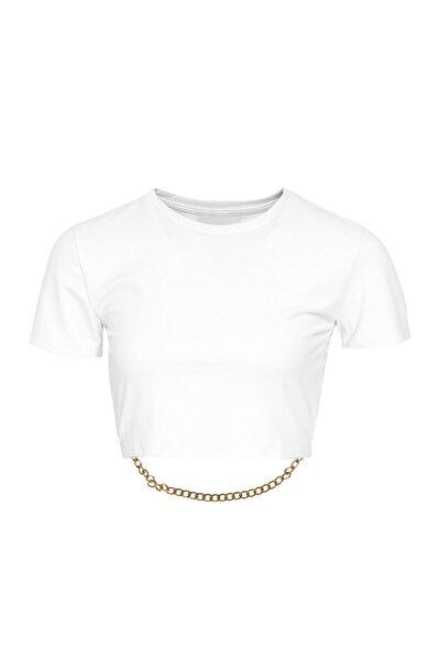 Quzu Zincir Detaylı Beyaz Bisiklet Yaka Crop Bluz