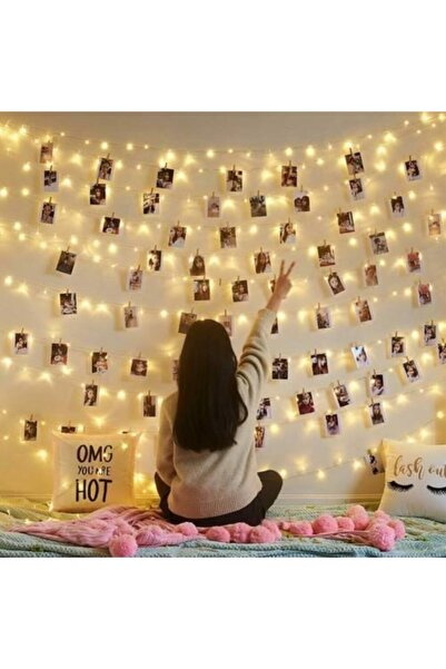 Webotto Peri Led Işık Sarı 3mt Ve 14 Adet Küçük Mandal Fotoğraf Asma Seti Anı Duvarı Wtt