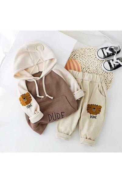 berta baby Erkek Bebek Kahverengi Kapüşonlu Takım 2'li