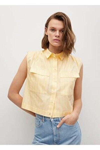 Kadın Sarı Kısa Koton Gömlek