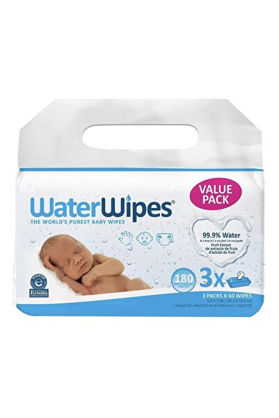WaterWipes Doğal Islak Mendil Yeni 3'lü Paket 180 Yaprak