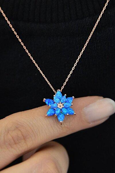 Papatya Silver Kadın Mavi Opal Taşlı Kamelya Gümüş Kolye