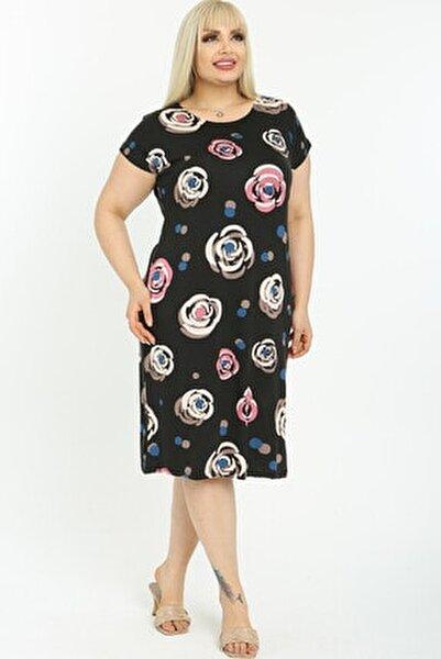 Kadın Siyah Üzerine Desenli Kısa Kollu Diz Altı Büyük Beden Elbise