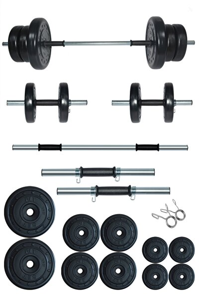 Fitset 55 kg Kombo Halter Seti Ve Dambıl Seti Ağırlık Fitness Seti