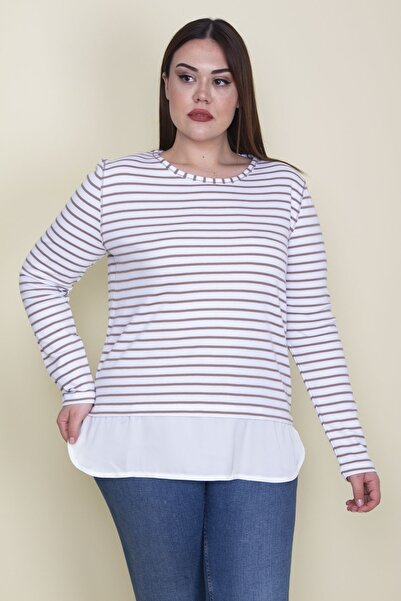 Şans Kadın Vizon Pamuklu Kumaş Etek Ucu Saten Garni Detaylı Çizgili Bluz 65N25887