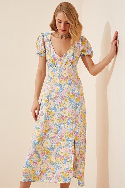 Happiness İst. Kadın Açık Mavi Çiçekli Yırtmaçlı Uzun Yazlık Elbise HF00250