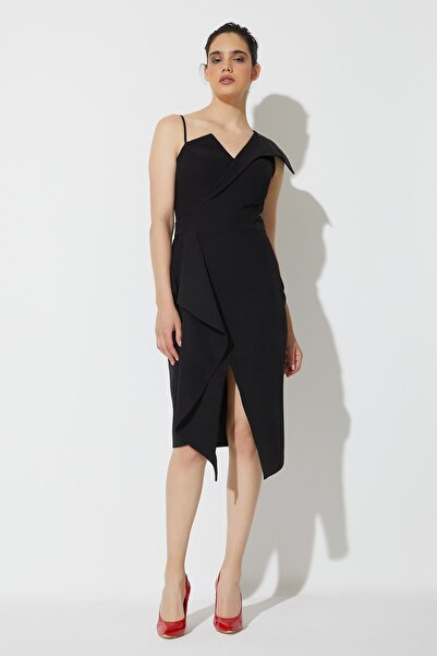 RENGIN Kadın Tek Omuz Ince Askılı Belden Volanlı Krep Elbise