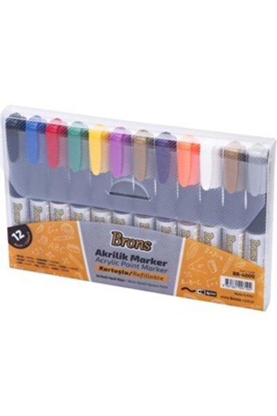 Brons Akrilik Marker Su Bazlı Opak Boya 12 Renk Uç Kalınlığı 4 mm Resim Için Uygundur