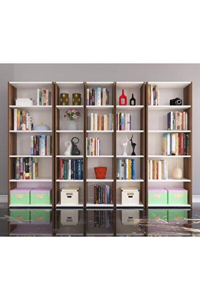 Nur Mobilya 5'li Arkalıklı Kitaplık Ceviz Beyaz