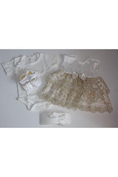 Ponpon Baby Petite 0-3 Ay Kız Bebek Mevlüt Takım 4 Parça Güpürlü Elbise Özel Gün Kıyafeti Mevlüt Kıyafeti
