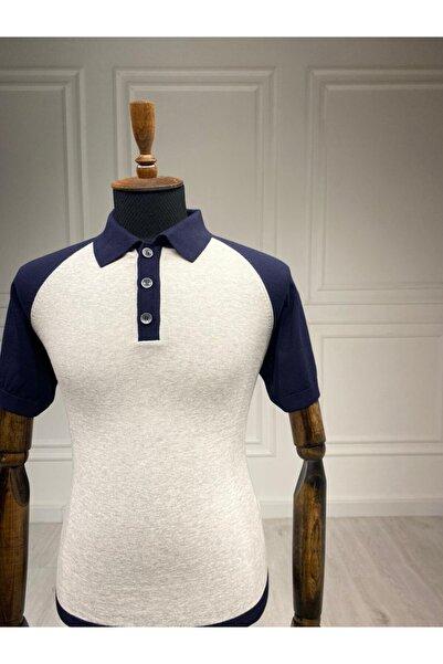 Sarar Polo Yaka Gri Ince Triko T-shirt