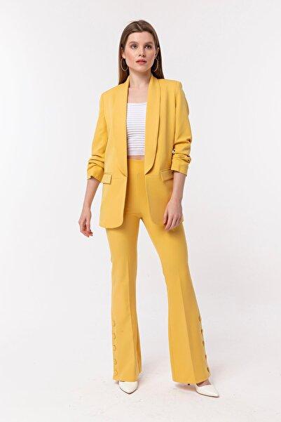 NATUREL Kadın Sarı Kolu Büzgülü Blazer Ceket