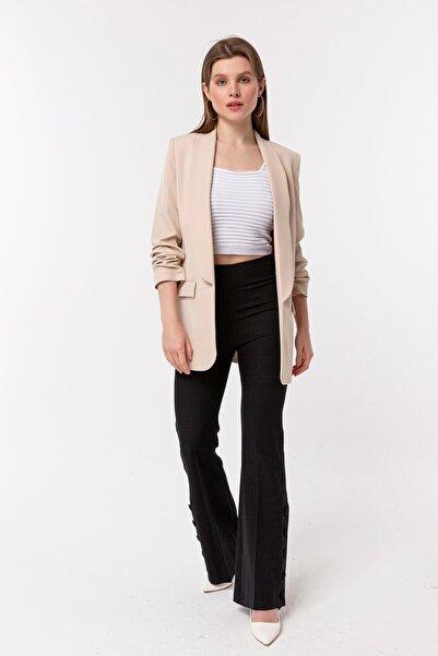 NATUREL Kadın Taş Rengi Kolu Büzgülü Blazer Ceket