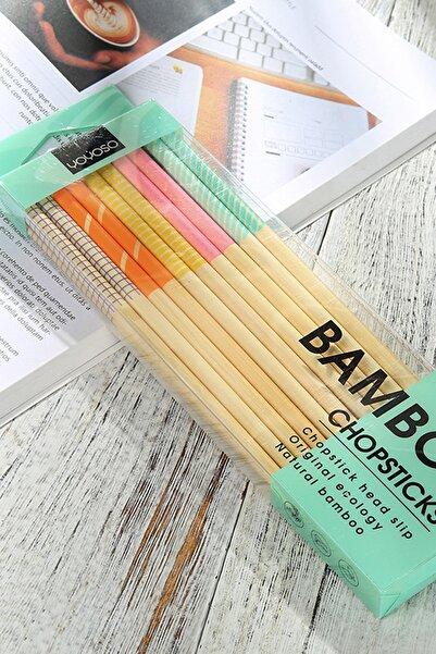 YOYOSO Yeniden Kullanabilir 10 Çift Bambu Ahşap Chopstick Seti Renkli