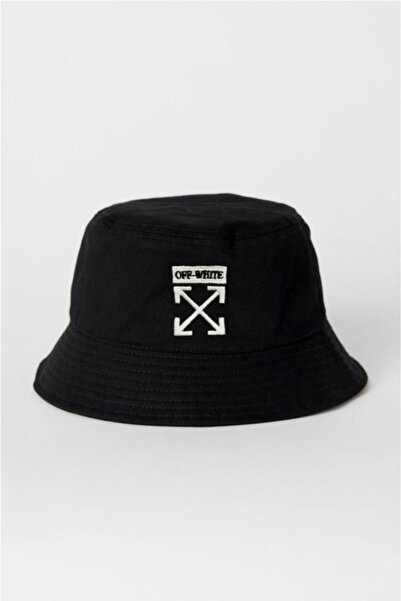 HemenALbence Siyah Off White Balıkçı Şapka Bucket Hat