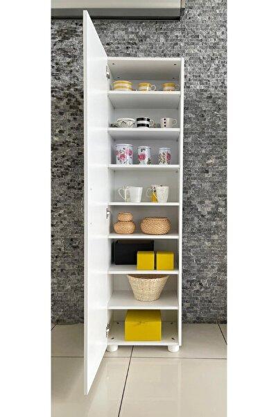 Modülya 8 Raflı Tek Kapaklı Çok Amaçlı Dolap Beyaz-mutfak Dolabı-banyo Dolabı