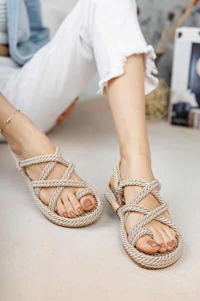 meyra'nın ayakkabıları Halat Sandalet Krem