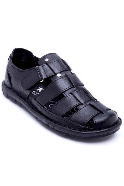 PEKER Erkek Siyah Ortopedik Deri Sandalet