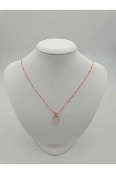 KARRA 925 Kadın Doğal Oval Kesim Ay Taşı (MOONSTONE) Rose Altın Kaplama Gümüş Kolye