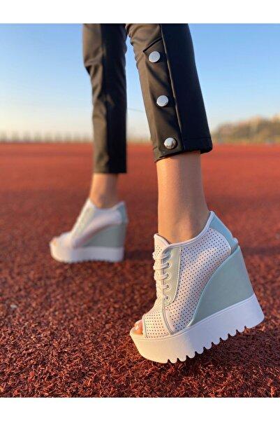 Modanizm Su Yeşili Dolgu Topuk Ayakkabı