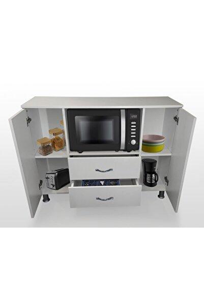 Durusilya Mobilya Fırın Mikro Dalga Bölmeli Kapaklı Çekmeceli Çok Amaçlı Mutfak Balkon Dolabı