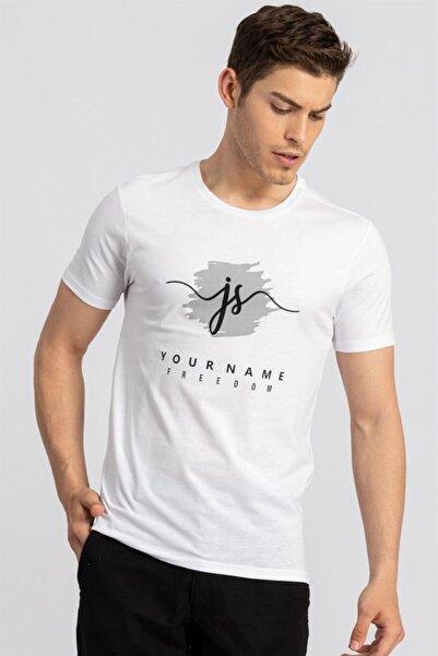 Tudors Erkek Beyaz Baskılı Slim Fit T-shirt