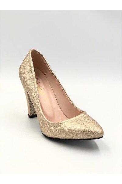 Sanita Kadın Stiletto Ayakkabı Gold Bej