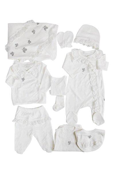 İmaj Beyaz Dantelli Kelebekli Kız Bebek 10lu Hastane Çıkışı