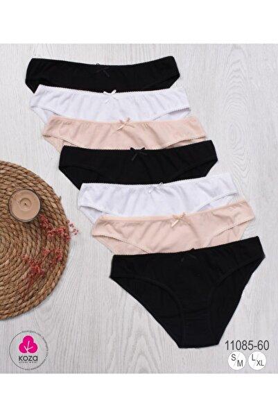 Koza Kadın  Pamuklu Slip  Külot Beyaz Siyah Ten Karışık Renklerde 7'li Paket