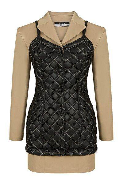 CEREN OCAK Kadın Siyah Kapitoneli Ceket Elbise