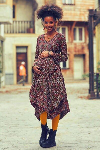 Los banditos Kadın Renkli  V Yaka Balon Etekli Hamile Elbise