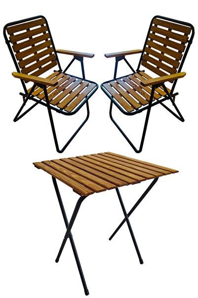 Tedarikcenter Ahşap 50x50 Katlanır Masa + 2 Adet Katlanır Sandalye Kamp Seti Bahçe Balkon Takımı-meşe-cntr00187