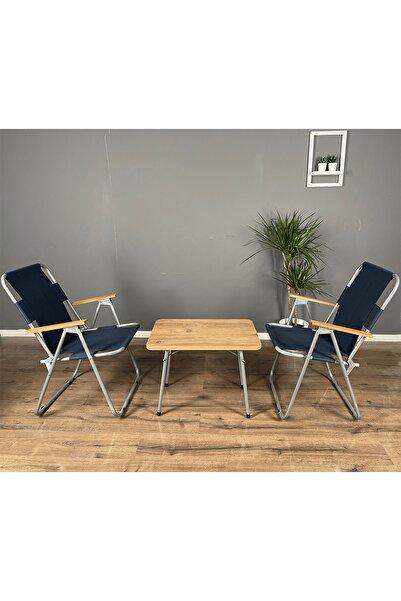 Berta Concept Calido Katlanır Ahşap Kollu 2 adet Lacivert Sandalye 1 adet 45x60 Masa Balkon Bahçe Takımı