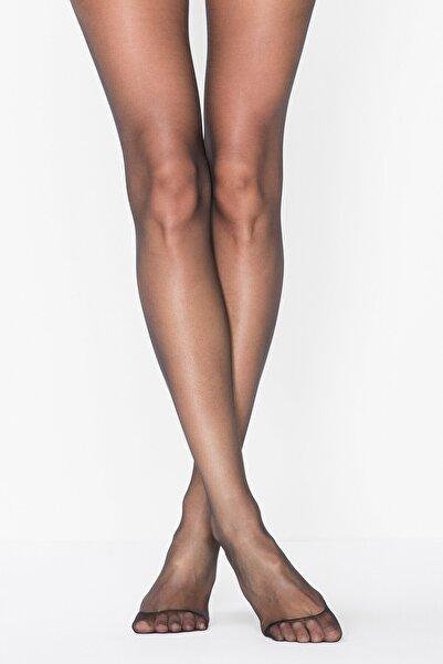 Penti Kadın Siyah Elastan Düz İnce 15 Denye Külotlu Çorap