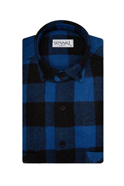 SÜVARİ Slim Fit Kareli Mavi Oduncu Gömlek
