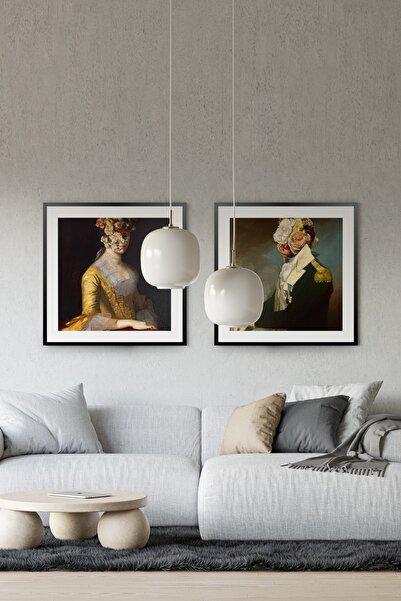 Çerçeve Market Sürrealist Portre Kolaj 50x50cm 2 Adet Siyah Çerçeveli Set