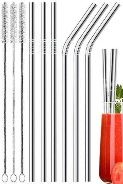 Kitchen Beauty 9 Parça Metal Pipet Seti Paslanmaz Çelik Pipet Ve Çubuk Pipet Temizleme Fırçası