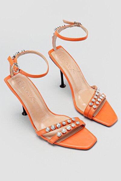 Limoya Kadın Turuncu Taş Detaylı Topuklu Sandalet